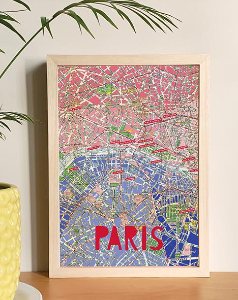 Poster Paris mapa